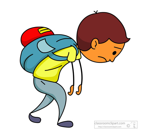 tired school boy with heavy backpack clipart